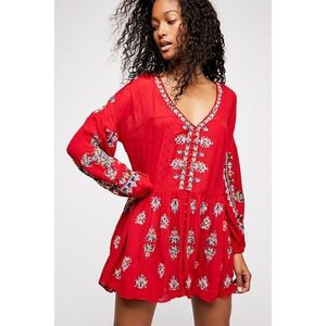 Free People Arianna Embroidered V Neck Tunic Dress